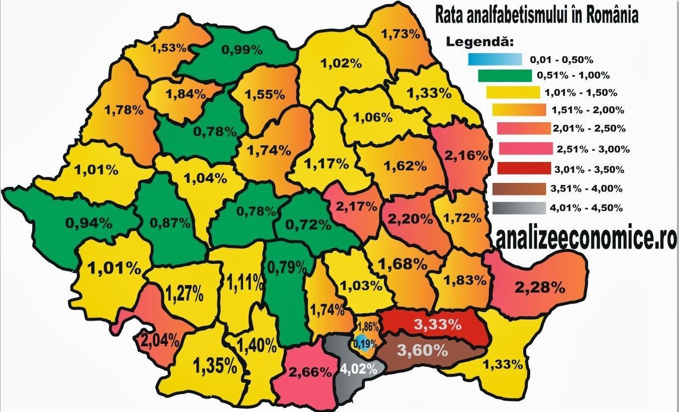 Harta analfabetismului din România